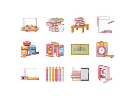 school icon set pack, High Quality variety symbols Vector illustration