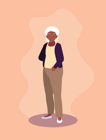old woman afro avatar character vector illustration design