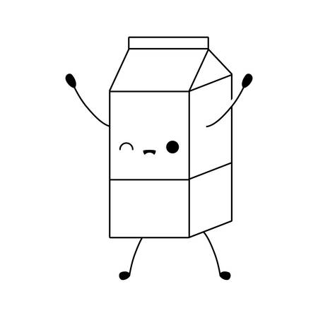 milk in box kawaii style vector illustration design 向量圖像