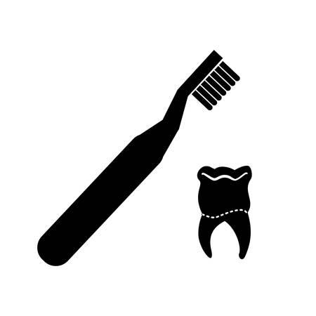 tooth human with brush vector illustration design Illusztráció