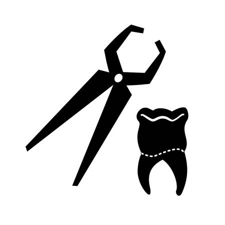 tooth human with pliers dentist vector illustration design