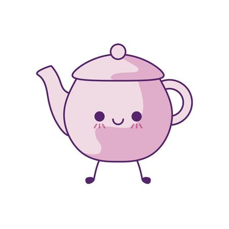 cute teapot kitchen style vector illustration design