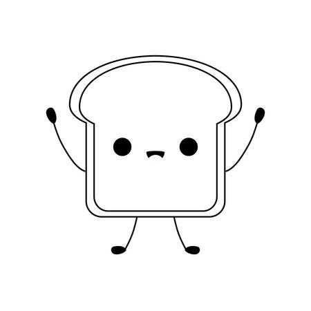 fresh bread slice kawaii style vector illustration design