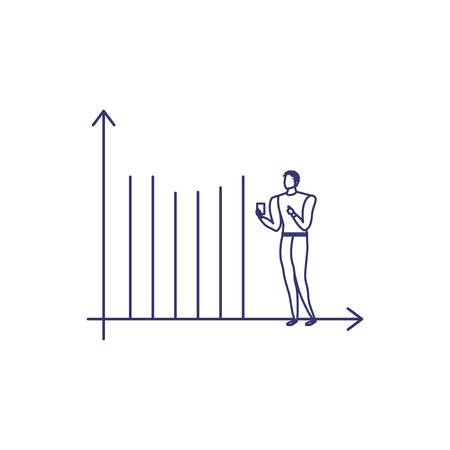 silhouette of man with statistic bars in white background vector illustration design