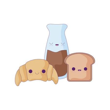 croissant bread with set food kawaii style vector illustration design