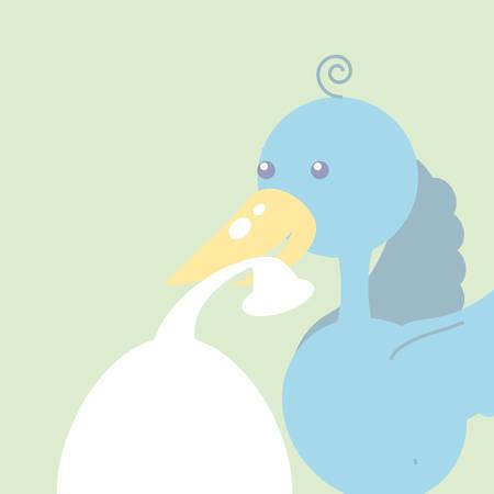cute stork animal with diaper isolated icon vector illustration design Illusztráció