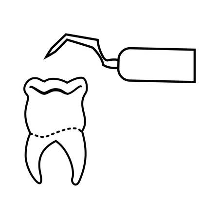 tooth human with dentist excavator vector illustration design