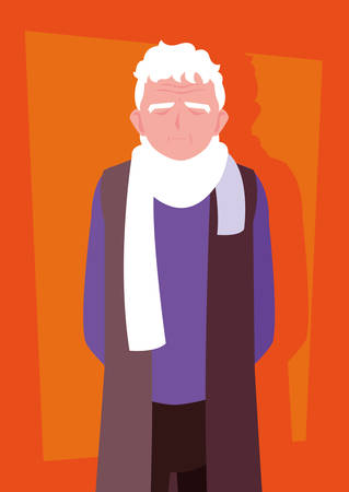 old man with scarf avatar character vector illustration design