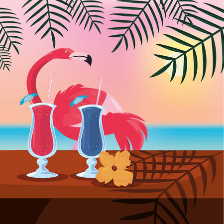 summer time holiday flamingo cocktail and flower on table sun background   vector illustration
