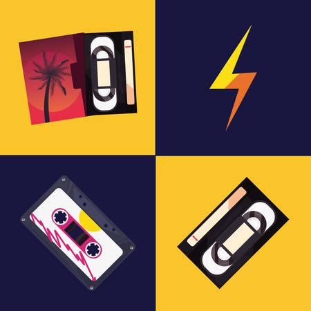 cassette tape music retro 80s style vector illustration