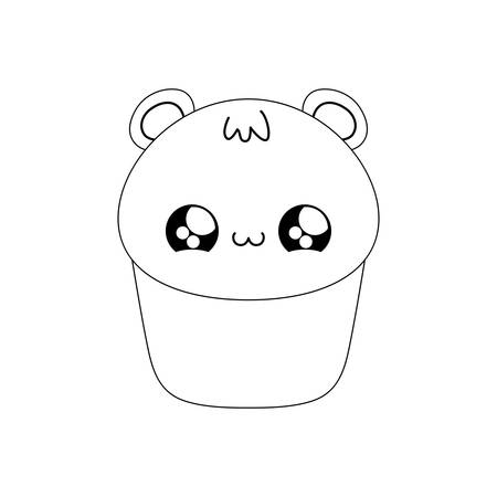cupcake with face of bear  style vector illustration design