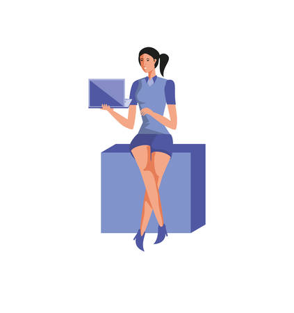 business woman sitting with laptop computer device vector illustration design