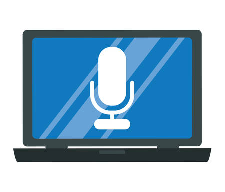 laptop computer with microphone vector illustration design Illustration