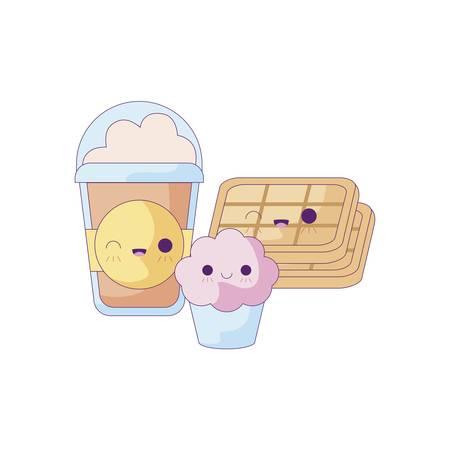 milkshake with set food kawaii style vector illustration design