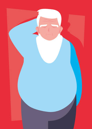 fat old man avatar character vector illustration design