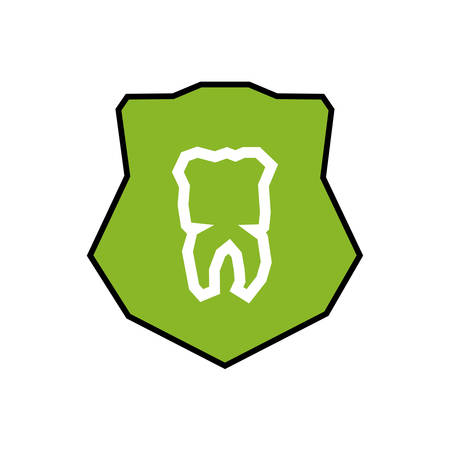 shield with tooth human vector illustration design