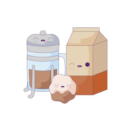 milk in box with set food kawaii style vector illustration design