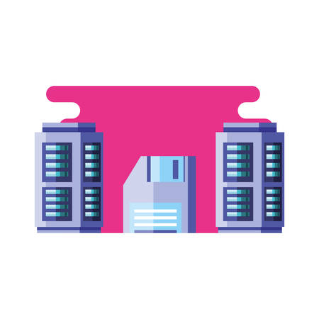 data center with floppies disk vector illustration design Illustration