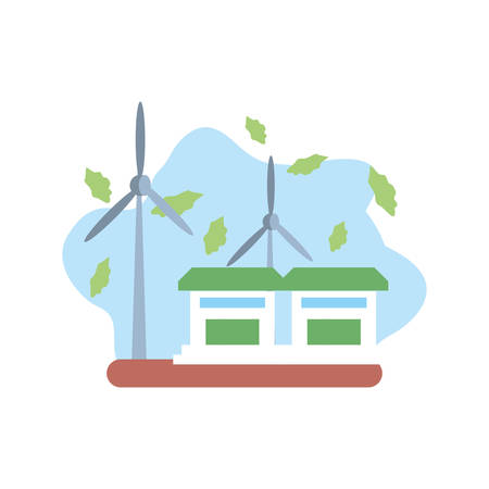 houses facades building with windmills vector illustration design 向量圖像
