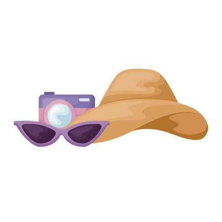 camera with hat female and sunglasses vector illustration design