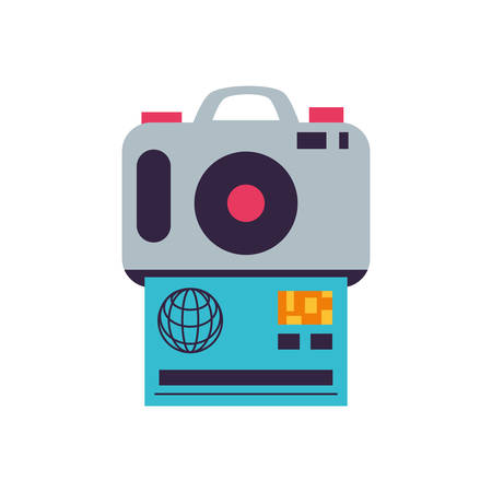 camera photographic digital with credit card vector illustration design Illusztráció
