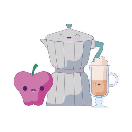 teapot with drink and apple   vector illustration design Çizim