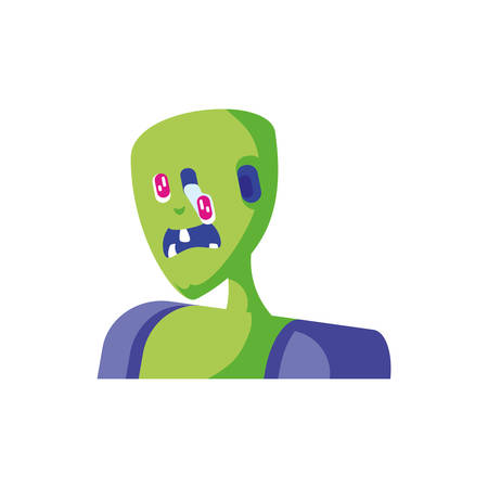 head of zombie in white background vector illustration design 일러스트