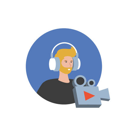 young man with earphones and video camera vector illustration design Stok Fotoğraf - 134750534