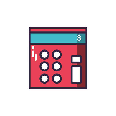 calculator red in white background vector illustration design