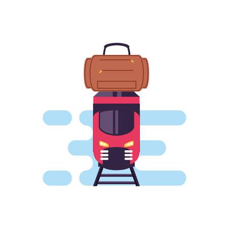 travel suitcase equipment with train vector illustration design