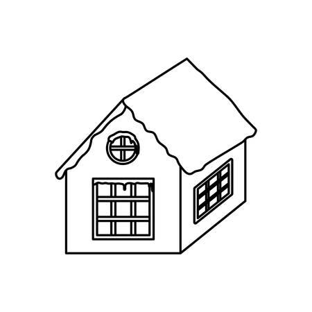family house on christmas night with white background vector illustration design Ilustracja
