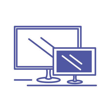 set computer monitor isolated icon vector illustration design