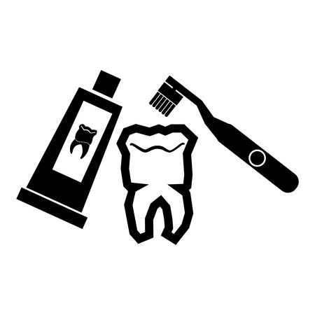 tooth human with brush and tooth paste vector illustration design Stockfoto - 134750629