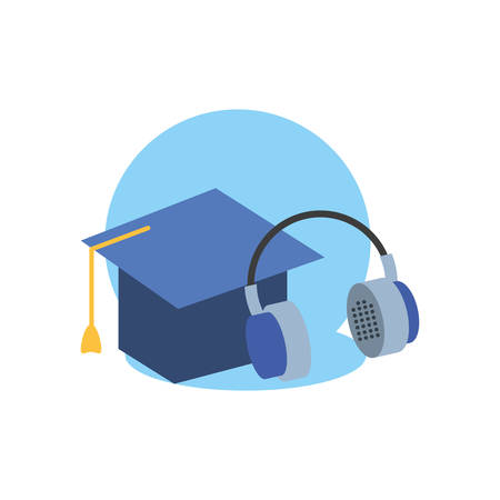 graduation hat study element icon vector illustration design