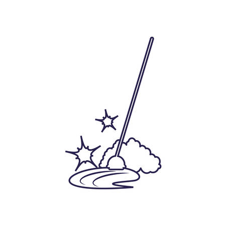 Cleaning mop design, Object home work hygiene equipment domestic and housework theme Vector illustration