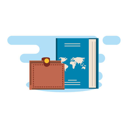 passport document travel with wallet vector illustration design