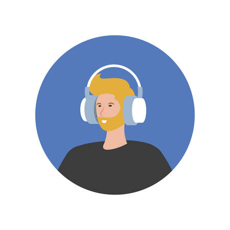 young man with earphones technology vector illustration design Stok Fotoğraf - 134750698