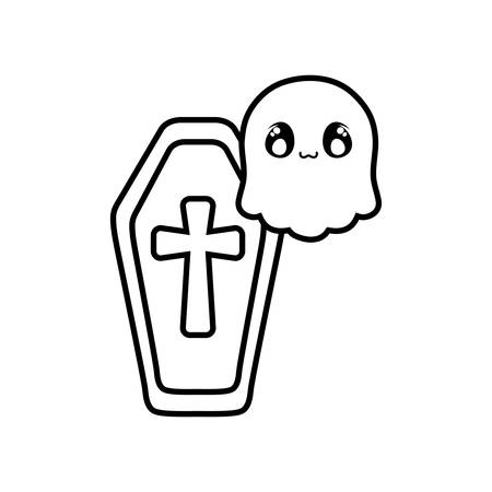 wood coffin with christian cross on white background vector illustration design