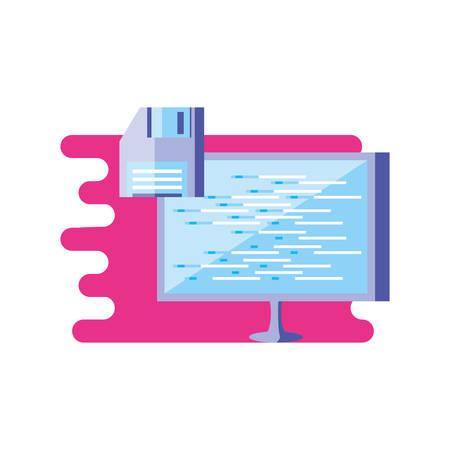 computer monitor with floppy disk vector illustration design Illustration