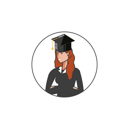 yound student girl graduated character vector illustration design