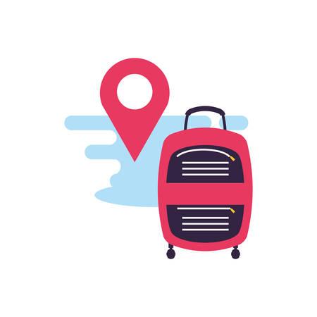 travel suitcase equipment with pin location vector illustration design Çizim