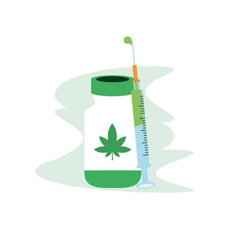 cannabis bottle product with syringe vector illustration design