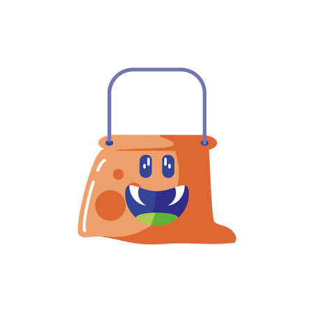 bucket for candies of halloween on white background vector illustration design