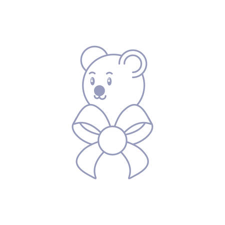 head of cute bear baby animal with bow ribbon vector illustration design