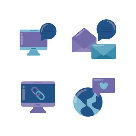 set icons of social media vector illustration design Stock Vector - 134753037
