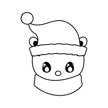head of polar bear with hat and scarf on white background vector illustration design