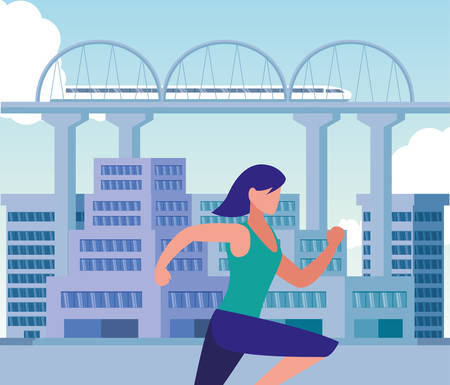 Woman running outside design, Healthy lifestyle Fitness bodybuilding bodycare activity and exercisetheme Vector illustration Standard-Bild - 134753047