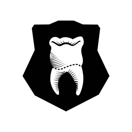 shield with tooth human vector illustration design Stockfoto - 134753053