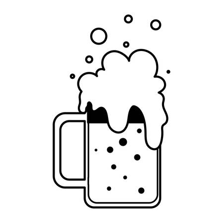 silhouette of mug with beer in white background vector illustration design