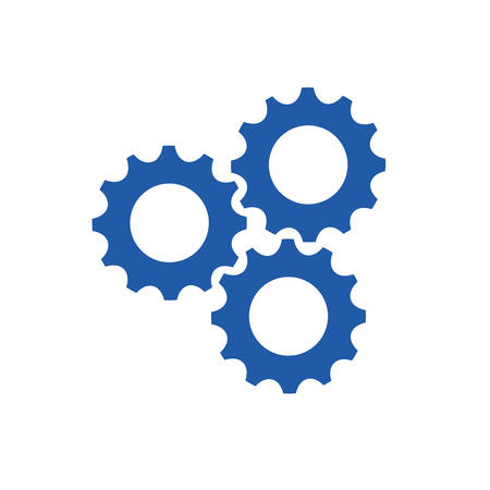 gears machinery with teamwork silhouette vector illustration design